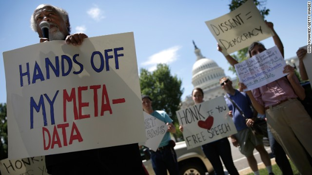 Demonstrators gathered in Washington last month to protest the National Security Agency domestic spying programs.