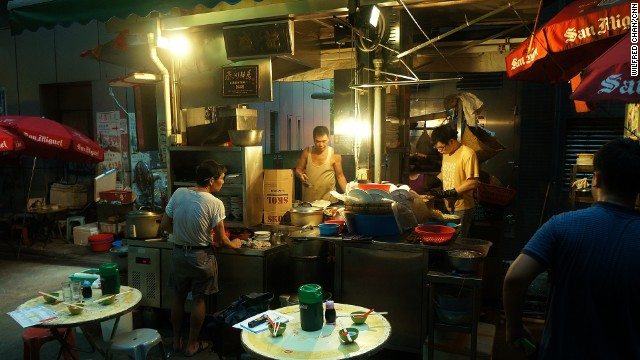 "The traditional Cantonese menu, ranging from beef noodles to seafood, is prepared by stir-frying quickly over a scorching hot flame in a process known as ""wok hei."""