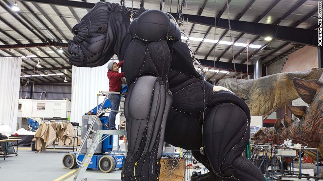 The process creating King Kong for the stage began five years ago. Tilders was originally working towards building a completely animatronic puppet but eventually settled on combining a marionette model with some internal animatronic trickery.