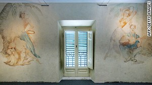 Frescos in Benito Mussolini\'s Rome residence, where the fascist dictator installed a tennis court and screened films.