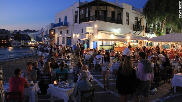 Some of the beaches on the Greek island of Mykonos get noisy at night -- and somewhat naked during the day.