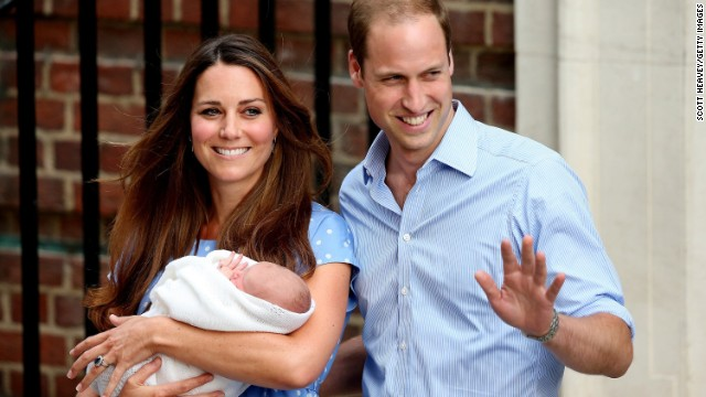 The Duke and Duchess of Cambridge depart St. Mary's Hospital in London with their newborn son on July 23, 2013. Prince George was born a day earlier, weighing 8 pounds, 6 ounces.