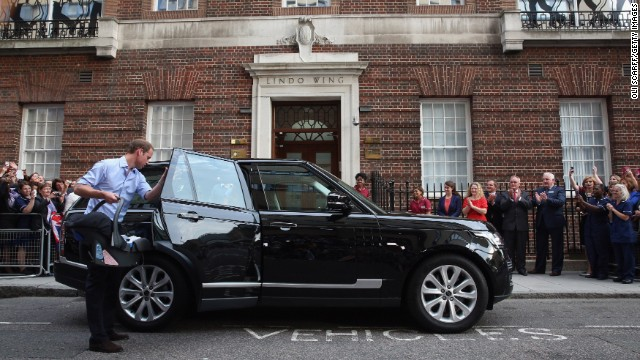 Prince William gets ready to depart St. Mary's Hospital.