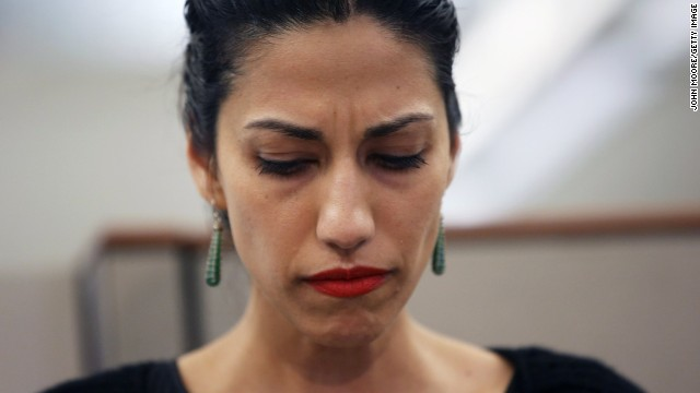 "Abedin appeared beside her husband and made brief remarks backing him. ""What I want to say is I love him, I have forgiven him, I believe in him, and as I have said from the beginning, we are moving forward,"" said Abedin."