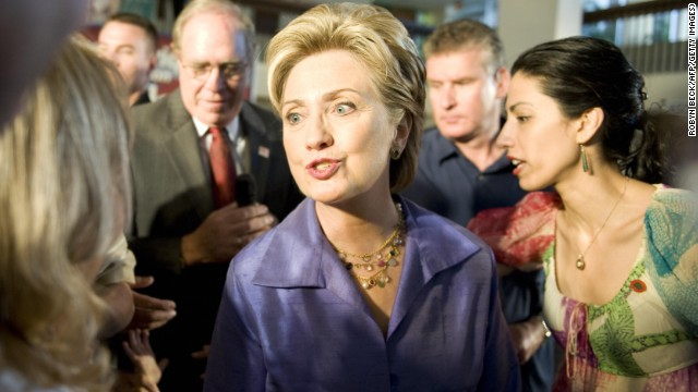 Abedin is by Clinton's side as she greets doctors and staff in San Juan Bautista Medical Center in Puerto Rico during Clinton's campaign for president on May 31, 2008.