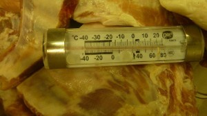 This photo, also from a crew member, indicates that this meat has not been stored at the correct temperature.
