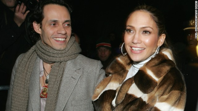 Lopez and then-husband Marc Anthony leave the Jennifer Lopez Fall 2005 show during Olympus Fashion Week at Bryant Park in New York.