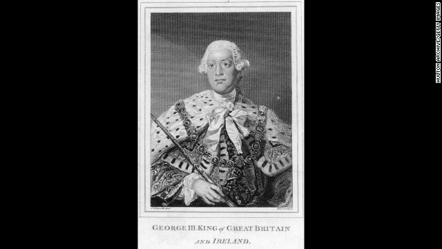King George III: The leader of Great Britain when the American colonists revolted and third of six King Georges.