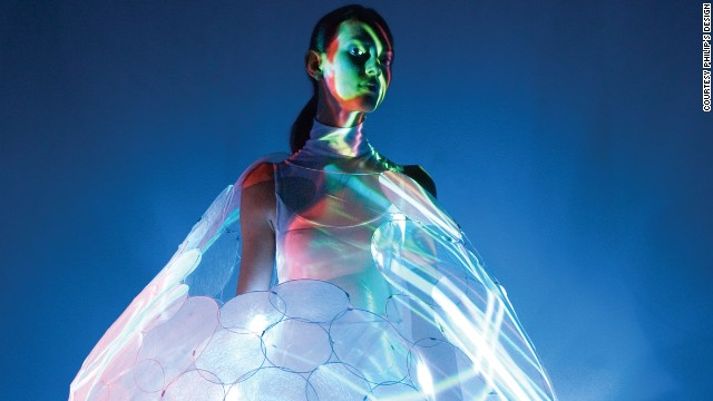 This concept dress called Bubelle by <a href='http://www.design.philips.com/philips/sites/philipsdesign/about/design/designportfolio/design_futures/dresses.page' target='_blank'>Philip's Design </a>interacts with and predicts the wearer's emotional state by changing colors. A beautiful white can turn into a relaxed blue. Philip's dresses are made from high-tech materials and are still in the concept phase.