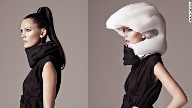 "It's a love/hate thing. The cycling helmet can save your life, but it doesn't look good and tends to ruin your hair. Thankfully the future offers a solution -- the <a href='http://www.hovding.com/en/' target='_blank'>Hvding</a>. A Swedish creation, the Hvding is an ""airbag for cyclists"". It's worn as a collar and only expands into a full helmet if you have an accident. "" border=""0″ height=""360″ id=""articleGalleryPhoto004″ style=""margin:0 auto;display:none"" width=""640″/><cite style="