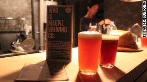 Magpie Basement offers only two beers, both home-brewed.