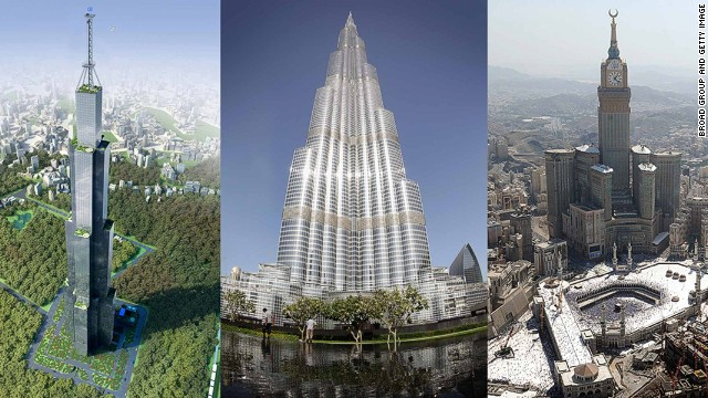 L-R: Sky City (proposed), China; Burj Khalifa, Dubai; Abraj Al Bait Towers, Saudi Arabia.