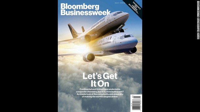 "A Bloomberg Businessweek cover in February 2012 addressed the merger between United and Continental airlines with one plane on top of the other and the headline ""Let's Get It On."" It was recognized by the American Society of Magazine Editors as the year's best cover among business and technology magazines."