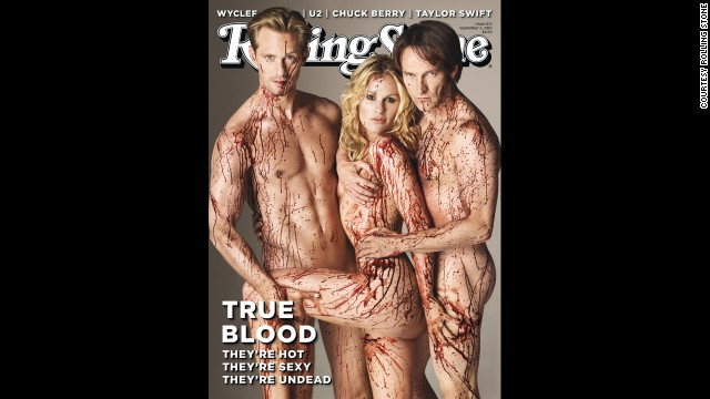 "From left, ""True Blood"" stars Alexander Skarsgard, left, Anna Paquin and Stephen Moyer appear naked on the <a href='http://www.rollingstone.com/movies/news/the-joy-of-vampire-sex-the-schlocky-sensual-secrets-behind-the-success-of-true-blood-20110610' target='_blank'>September 2010 cover</a> of Rolling Stone. Alan Ball, the creator of the hit HBO series, told the magazine: ""To me, vampires are sex. I don't get a vampire story about abstinence."" Fans were likely not taken aback by the nude threesome, but the cover had some people calling for it to be pulled from shelves."