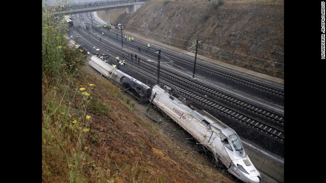 A general view of the derailment in northwestern Spain on July 25.