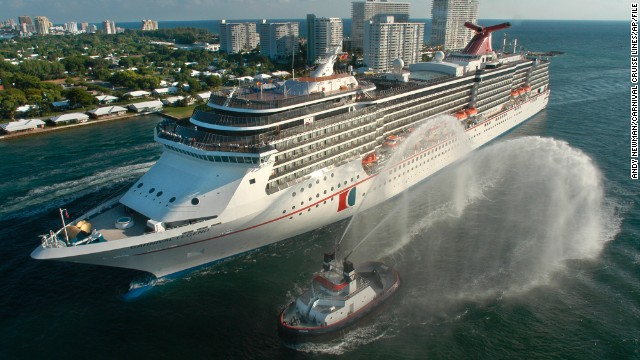 Carnival Legend, shown here in 2012, had to cancel a scheduled March stop on Grand Cayman after propulsion system problems hampered its sailing speed. It arrived in Tampa, Florida, hours ahead of schedule.
