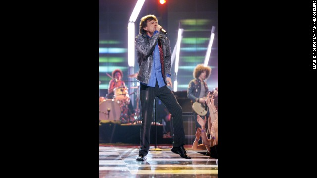 When he took the stage at the My VH1 Music Awards in 2001, Jagger looked long and lean in fitted pinstripe pants.