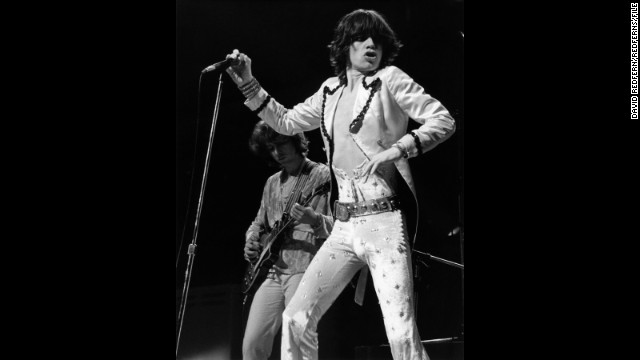 In the early '70s, Jagger took a liking to revealing jumpsuits crafted by designer Ossie Clark. This pearl white velour number, bedazzled with sequins, <a href='http://www.christies.com/lotfinder/memorabilia/the-rolling-stonesmick-jagger-5634713-details.aspx' target='_blank'>was auctioned at Christie's</a> for around $32,000 in November 2012.