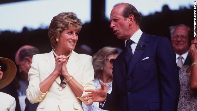 Princess Diana talks to the Duke of Kent while attending the 1995 men's singles final at Wimbledon between Pete Sampras and Boris Becker.