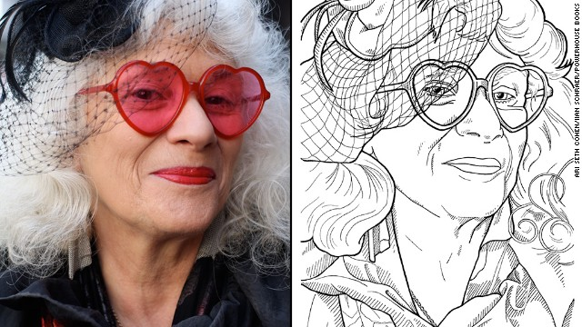 <a href='http://advancedstyle.blogspot.com/2012/02/red-heart-glasses.html' target='_blank'>Jane Folds</a>, an artist and marionette maker in New York, is known for her signature look of heart-shaped sunglasses, black dress and blend of eclectic accessories.