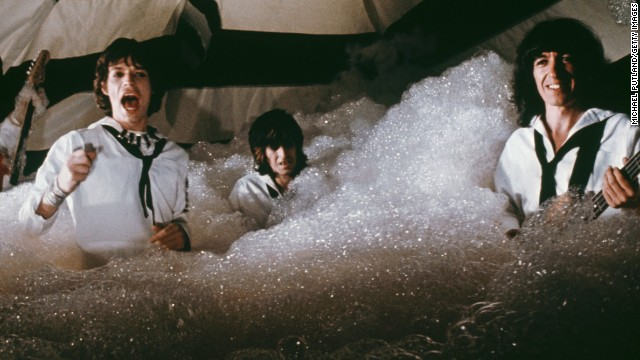 """The Rolling Stones record a music video for the song """"It's Only Rock 'n' Roll (But I Like It)"""" in 1974. Filmed in London, the video was directed by Michael Lindsay-Hogg."""