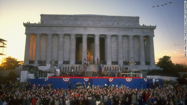 Planes fly over the memorial during the inauguration of George H.W. Bush in January 1989.
