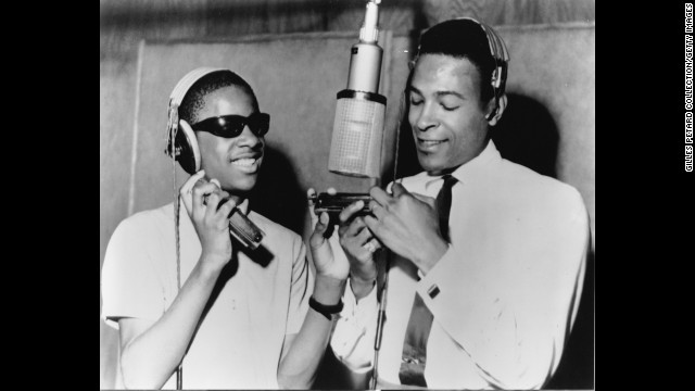 Music also played an important role in the success of Detroit, where Motown Records was headquartered in the 1960s. Here Stevie Wonder, left, and Marvin Gaye record in a Motown studio in Detroit in 1965.