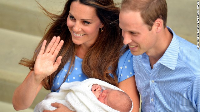 The Duke and Duchess of Cambridge depart St. Mary's Hospital in London with their newborn son on July 23, 2013. The boy was born at 4:24 p.m. a day earlier, weighing 8 pounds, 6 ounces.