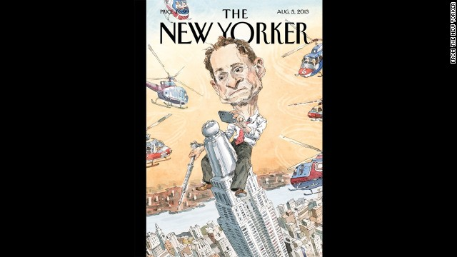 New York City mayoral candidate Anthony Weiner found himself in hot water once again after admitting he had online relationships with three women after his 2011 resignation from Congress. The New Yorker magazine's August 5 cover depicted Weiner as King Kong, taking a photo with a cell phone atop the Empire State Building.
