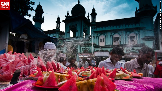 "This colorful feast of a photo was taken by Ashish Tibrewal in his native Mumbai, India, during Eid in 2009. ""Being a Hindu, I do not celebrate Eid myself but I visit my Muslim friends to greet them on Eid, and it's a great symbol of peace and brotherhood between different religions,"" he said."