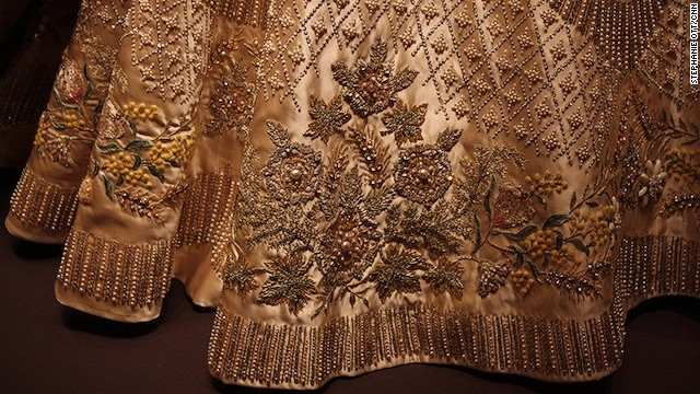 Detailed embroidery of the queen's coronation dress.