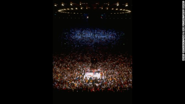 "The arena is packed for the very first ""Wrestlemania"" in March 1985."