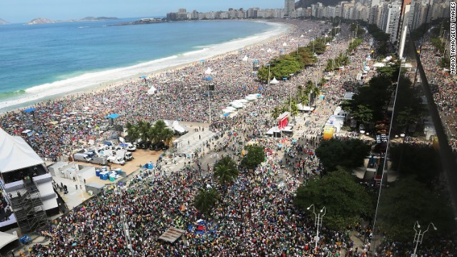 Faithful as far as the eye can see crowd Copacabana Beach on July 28, during Pope Francis' final Mass of his visit to Brazil.