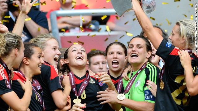 Germany's women lift the Euro 2013 title after a 1-0 victory over Norway in the final in Sweden.