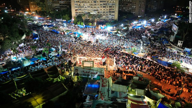 Supporters of Egypt's deposed President Mohammed Morsy gather for prayers at Nasr City, where protesters have installed a camp and hold daily rallies, in Cairo, on Sunday, July 28.