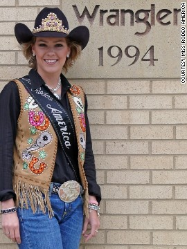 She might be standing outside major sponsor Wrangler's 1990s plaque, but Miss Rodeo America 2007, Ashley Andrews, is every inch a 21st century cowgirl.