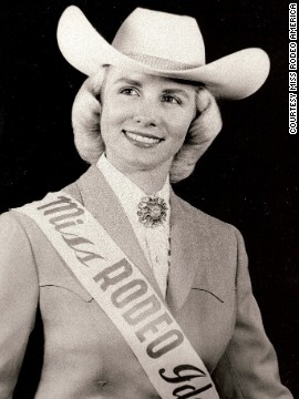 "Launched in 1955, Miss Rodeo America has a rich history in the U.S. ""It was formed as a way to bring a little bit of beauty and grace to a sport known for its roughness and rowdiness,"" Shiner told CNN. Here, Miss Rodeo America 1952, Karen Lavens, receives her award."