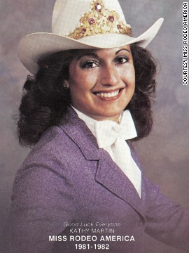 Miss Rodeo America 1981, Kathy Martin, is all 1980s glamor in this publicity shot. Much like the original Miss America pageant, rodeo queens are judged on poise, personality, beauty and knowledge. But there's one important difference...