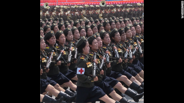 At one of the specially organized, <a href='http://instagram.com/p/cRmqxpBqNP/ ' target='_blank'>expertly synchronized parades</a>, these female army medics marched perfectly in line as they paraded through Pyongyang's Kim Il Sung Square.