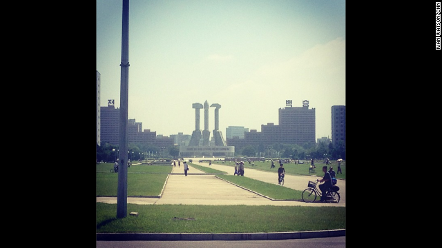 The Communist nation also proudly displays in Pyongyang the signs of its ideology -- <a href='http://instagram.com/p/cOGfPqCDb8/' target='_blank'>the hammer and the sickle here </a>loom over visitors and locals alike in the city.