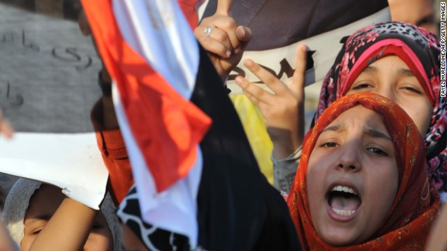 Supporters of ousted Egyptian President Mohamed Morsy chant slogans at a march in Cairo's eastern Nasr City on Monday.