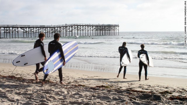 Although the author grew up in Point Loma, she and her family chose to rent a Pacific Beach apartment with a view of Crystal Pier (shown here) for a great view and access to the beach. Surfers get the right side of the pier, while swimmers and boogie boarders stay to the left.