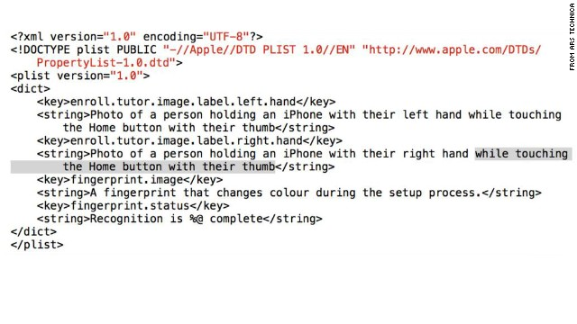 These lines of code, found within a beta version of iOS 7, suggest future iPhones could get a fingerprint reader.