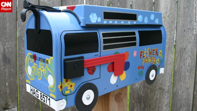 Branden Willson designs custom mailboxes to look like vintage Volkswagen buses.