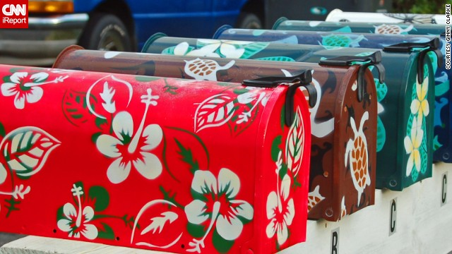 Ginny Clarke spotted these Hawaiian-shirt-inspired mailboxes while wandering through a neighborhood on the island of Oahu.