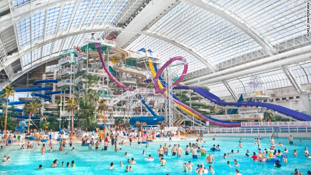 World Waterpark has the world's largest indoor wave pool, 17 water slides and attractions and a 452-foot (138-meter) zip line that runs the length of the wave pool.