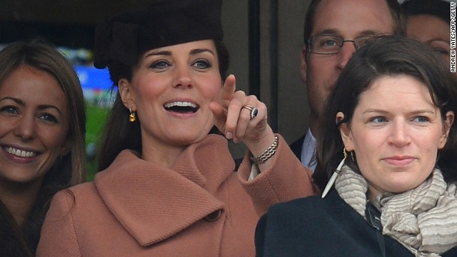 The Queen's latest daughter-in-law -- Catherine, Duchess of Cambridge -- has also joined in the family passion. She is seen here at the Cheltenham Festival steeplechase meeting in March 2013.