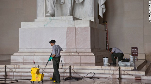 National Park Service workers clean the Lincoln Memorial on July 26.