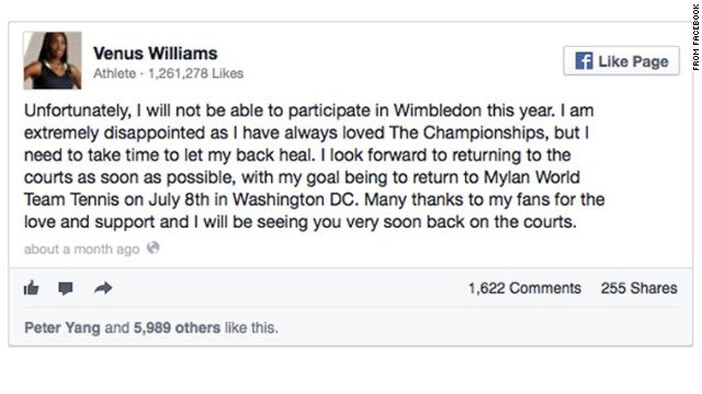 Facebook provided this example of an embedded post from tennis star Venus Williams.