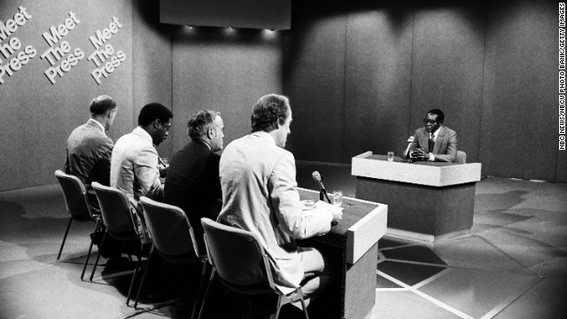 "NBC News moderator Bill Monroe, from left, Newsday's Les Payne, the Chicago Sun Times' Robert Novak and NBC News' Garrick Utley speak with Mugabe during an episode of ""Meet the Press"" in 1980."